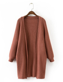 Trendy Red Bat Sleeves Design Pure Color Long Sweater