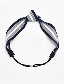 Fashion Gray+navy Stripe Pattern Decorated Hair Band