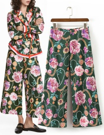 Fashion Multi-color Chains&flower Pattern Decorated Simple Pants