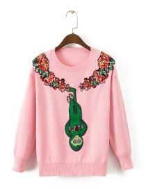 Fashion Pink Embroidered Monkey Decorated Long Sleeves Sweater