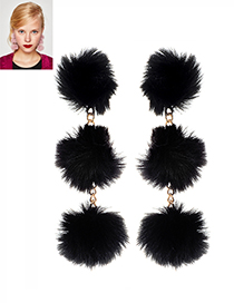 Fashion Black Fuzzy Balls Decorated Pure Color Pom Earrings