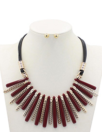 Trendy Red Square Shape Decorated Jewelry Sets