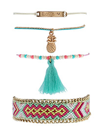 Fashion Multi-color Pineapple&tassel Decorated Simple Bracelet(4pcs)