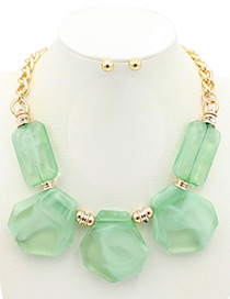 Trendy Green Geometric Shape Decorated Pure Color Jewelry Sets