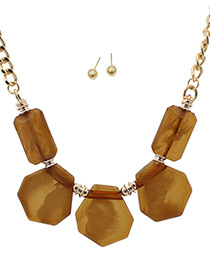Trendy Coffee Geometric Shape Decorated Pure Color Jewelry Sets
