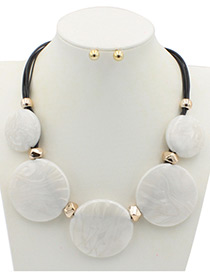 Trendy White Round Shape Decorated Pure Color Jewelry Sets