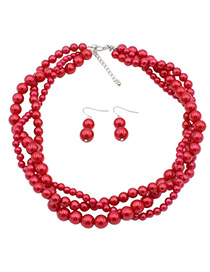 Fashion Red Beads Decorated Pure Color Jewelry Sets