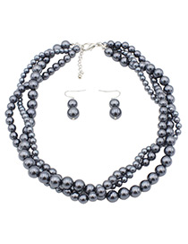 Fashion Gray Beads Decorated Pure Color Jewelry Sets