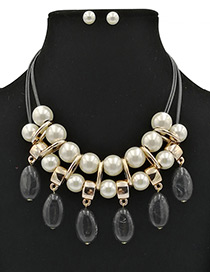 Fashion Black Pearls Decorated Double Layer Jewelry Sets
