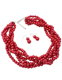 Fashion Red Pearls Decorated Pure Color Jewelry Sets