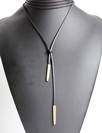 Elegant Black Vertical Shape Decorated Long Necklace