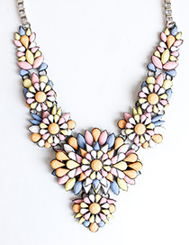 Fashion Yellow+white Diamond Decorated Flower Shape Necklace