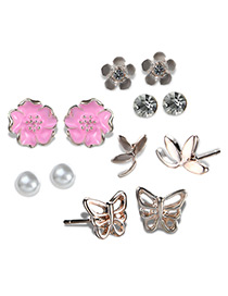 Fashion Gold Color+pink Flower&butterfly Decorated Earrings Sets