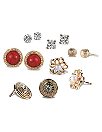 Fashion Antique Gold Flower Shape Decorated Earrings Sets