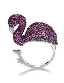 Trendy Purple+silver Color Swan Shape Decorated Opening Ring