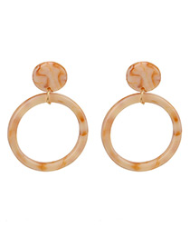 Trendy Beige Circular Rings Decorated Simple Earrings