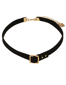 Personalized Gold Color Square Shape Buckle Decorated Choker