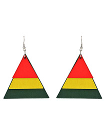 Vintage Multi-color Triangle Shape Decorated Multi-layer Earrings