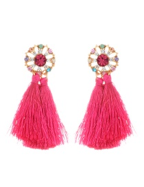Fashion Plum Red Tassel Decorated Hollow Out Design Earrings