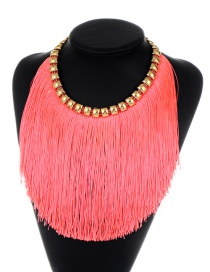 Fashion Pink Long Tassel Decorated Simple Necklace