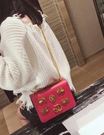 Fashion Red Lion Heart Shape Decorated Shoulder Bag