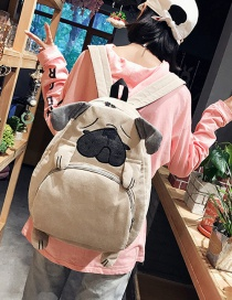 Trendy Gray Cartoon Puppy Shape Decorated Backpack