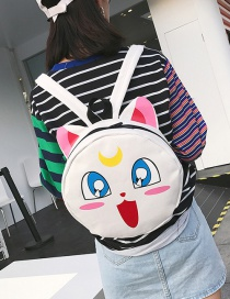 Lovely White Cartoon Cat Decorated Sround Shape Backpack