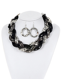 Fashion Silver Color+black Color Matching Decorated Jewelry Sets