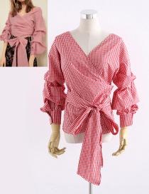 Fashion Red Grid Pattern Decorated Bandage Design Shirt