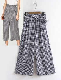 Fashion Black+white Grid Pattern Decorated Wide-legs Pants