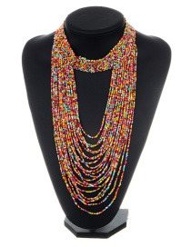 Exaggerated Multi-color Color-matching Decorated Multilayer Necklace