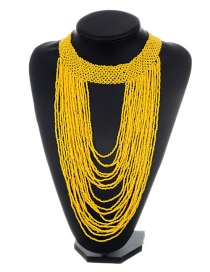 Exaggerated Yellow Pure Color Decorated Multilayer Necklace