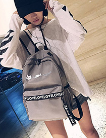 Fashion Gray Letter Shape Decorated Backpack