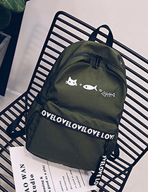 Fashion Green Letter Shape Decorated Backpack