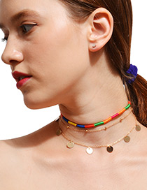 Bohemia Multi-color Round Shape Decorated Multilayer Choker