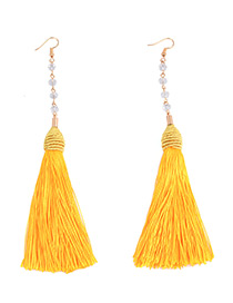 Vintage Yellow Pure Color Decorated Tassel Earrings