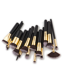 Fashion Black+gold Color Color -matching Decorated Brush (17pcs)