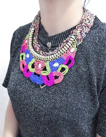 Exaggerated Multi-color Color-matching Decorated Necklace
