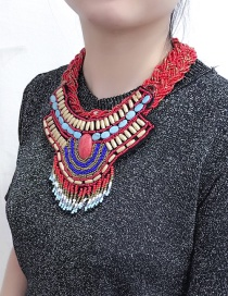 Exaggerated Red Hand-woven Decorated Necklace