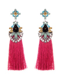 Elegant Plum-red Geometric Shape Decorated Tassel Earrings
