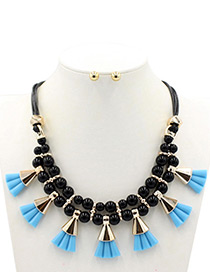 Bohemia Blue Fan Shape Decorated Double Layer Jewelry Sets