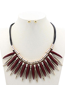 Exaggerated Claret-red Color-matching Decorated Jewelry Sets