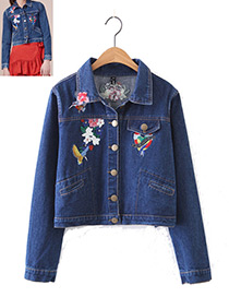 Fashion Blue Embroidery Flower Decorated Coat