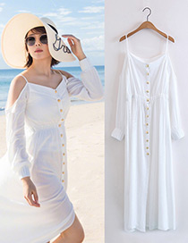 Bohemia White Off The Shoulder Decorated Long Dress