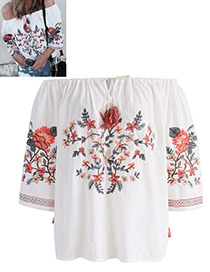 Bohemia White Off The Shoulder Decorated Blouse