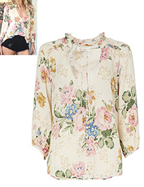Elegant Beige Peony Shape Decorated Shirt