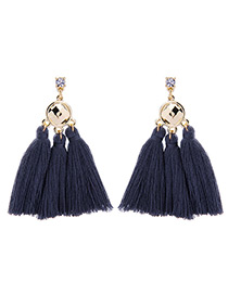 Bohemia Navy Blue Color-matching Decorated Tassel Earrings