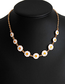 Lovely Gold Color+white Daisy Shape Decorated Necklace