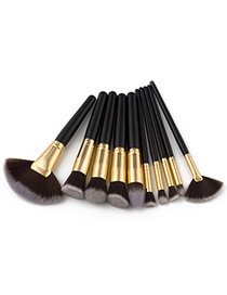 Fashion Black Color-matching Decorated Brush (10pcs)