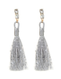 Elegant Gray Pure Color Decorated Earrings